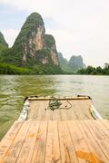 Bamboo rafting li river china - stock photo