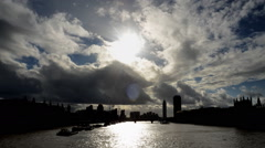 Thames River on a Stormy day Stock Footage