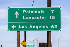 Los Angeles, Palmdale and Lancaster Highway Sign Stock Photos