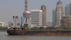 Shanghai, China Skyline with a view of the Pearl Tower Stock Footage