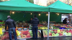 Sunday street market in France Stock Footage