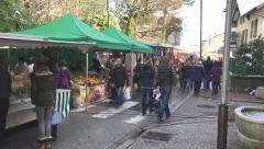 French Sunday street market Stock Footage