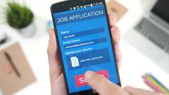 4K Job Application Search Smartphone Sending Resume.mp4 - stock footage