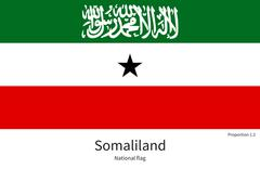 National flag of Somaliland with correct proportions, element, colors - stock illustration