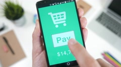 4K Online Shopping Payment Smartphone App.mp4 Stock Footage