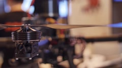 Quadcopter. Radio controlled hexacopter flying machine. Drone technology Stock Footage