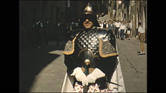 Vintage 16mm film, 1955, Italy, Palio di Siena drummers and horse Stock Footage