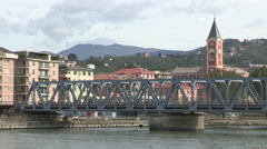 The railway bridge on river Entella Stock Footage