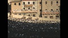 Vintage 16mm film, 1955, Italy, Palio di Siena festival parade #1 Stock Footage