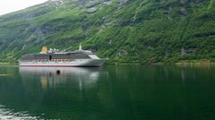 GEIRANGER FJORD, NORWAY, Cruise Liner Arcadia  Approaching The Geiranger Fjord - stock footage