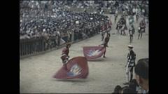 Vintage 16mm film, 1955, Italy, Palio di Siena festival parade #5 Stock Footage