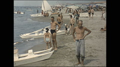 Vintage 16mm film, 1955, Italy Rapallo, day at the beach - stock footage