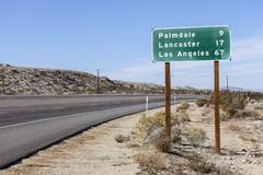 Palmdale, Lancaster and Los Angeles Highway Sign Stock Photos