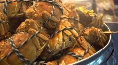 Hairy crab in bamboo steamer close up Stock Footage