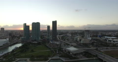 4k Aerial Downtown Miami and Biscayne Bay during sunset Stock Footage