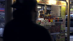 Food cart in cold weather - pretzels hot dogs and soda vendor 4K NYC Fall Winter Stock Footage