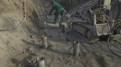 Drilled piles deep foundation: ties Stock Footage