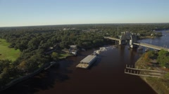 Barge Goes Through Toll Bridge Stock Footage