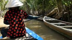 MEKONG DELTA, VIETNAM - 2015: Vietnamese boat lady southern Vietnam - stock footage