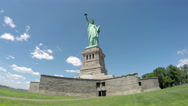 Stock Video Footage of Statue of Liberty Cloud Timelapse in 4k