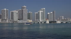 Miami, FL - Sightseeing Boat and Waterfront Condo's on Biscayne Bay. Stock Footage
