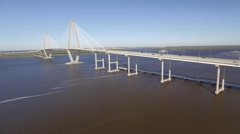 Aerial Shot Zooming Into Ravenel Bridge over the Cooper River in Charleston, SC Stock Footage
