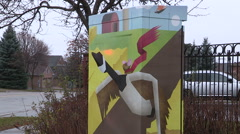 Art on public infrastructure and utility control box in Markham Stock Footage