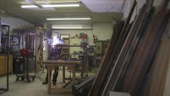Industrial Worker Welding in Shop - Wide Shot Stock Footage