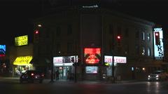 City Street Corner at Night. Stock Footage
