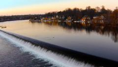 Aerial view of waterfall and boathouses. Boathouse Row in Philadelphia Stock Footage