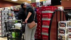 People choosing wine inside BC liquor store Stock Footage