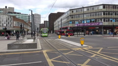 A London Tram Crossing A Junction Stock Footage
