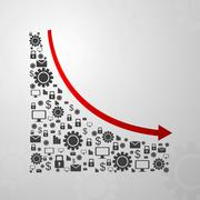 Abstract decline graph arrow with communication icons Stock Illustration