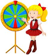 Little girl by the lucky wheel Piirros