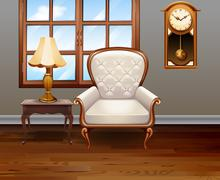 Living room with luxury chair and furniture - stock illustration