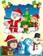 Boy dreaming about Christmas festival - stock illustration