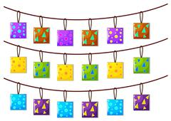 Square ornaments hanging on the rope - stock illustration