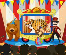 Animal show at the carnival Stock Illustration