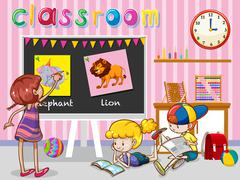 Children reading and painting in classroom - stock illustration