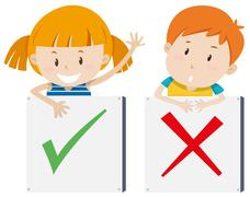 Girl with right sign and boy with wrong sign - stock illustration