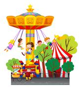 Swing ride at the theme park - stock illustration