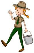 Female park ranger holding bucket Stock Illustration
