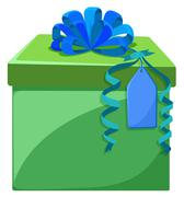 Present box with blue ribbon - stock illustration