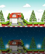 Private house at day time and night time - stock illustration