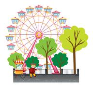 Man selling popcorn at the park Stock Illustration