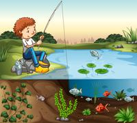 Boy fishing by the river - stock illustration