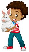 American boy holding a white rabbit - stock illustration