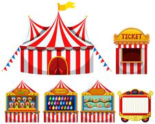 Circus tent and game boothes Stock Illustration