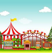 Shops and rides at the amusement park - stock illustration