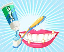 Dental theme with toothbrush and paste Stock Illustration